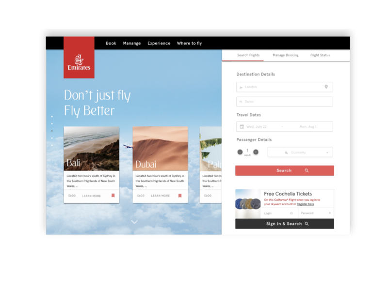 Emirates Homepage reimaged search redesign homepage aviation design