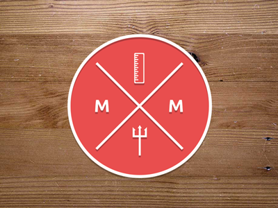 A sticker sticker logo trident ruler cross red