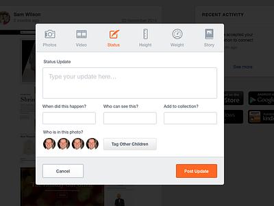 Rebound: Post Content Modal ui ux icons add create menu newsfeed post status