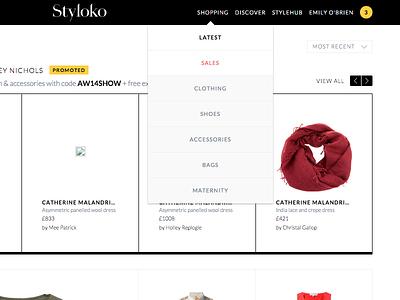 Styloko navigation ui ux web navigation nav navbar dropdown list shopping menu