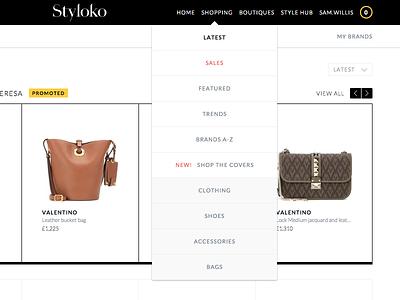 Live Styloko Navigation ui ux list menu shopping dropdown nav navbar navigation web