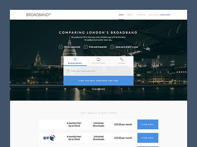 Broadband Comparison Site ui ux landing page icons london comparison app nav web broadband