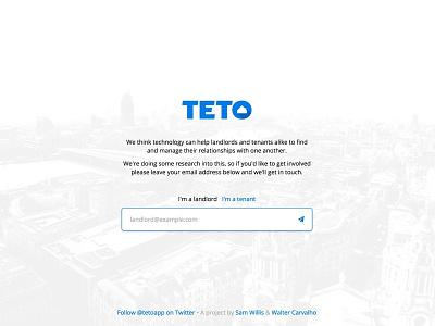 Teto splash page ui ux logo property sign up landing page splash page