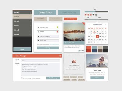 Experimental UI earthy message ui menu toronto interaction buttons form calendar social market neutral