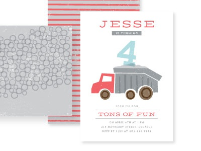 Birthday truck, tons of fun dump truck kids birthday minted texture