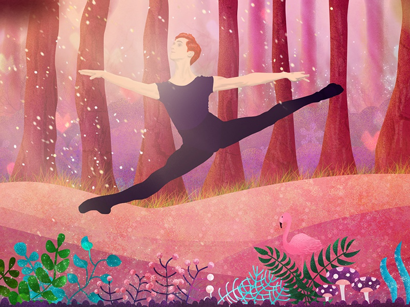 Forest Dancer woods brushwood flamingo boy flat forest ballet dancer illustration