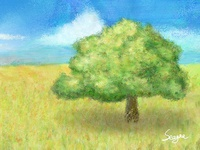 The tree and the grassland