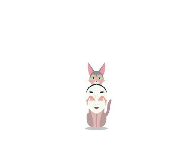 Kinako mask vector design a whisker away anime cat character design illustration