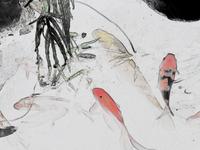 Yu Zang painting water colour poster cyprinus