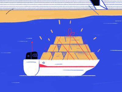 Gold Boat san francisco sea water gold boat illustration