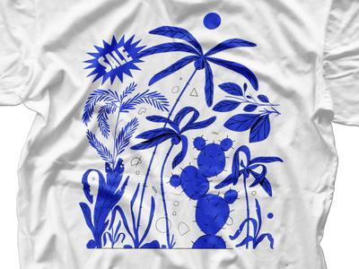 Tropical sale tree palm cactus cactai t-shirt blue sale plants tropical illustration