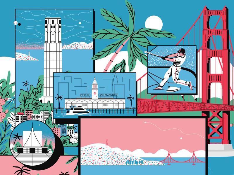 San Francisco Mural plants cactus mural travel city water palm baseball golden gate bridge illustration san francisco