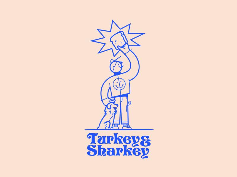 Turkey & Sharkey star logo character man bread dog