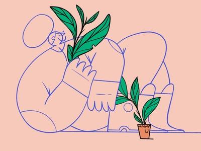 Plant lover character pot leaf illustraion woman plant