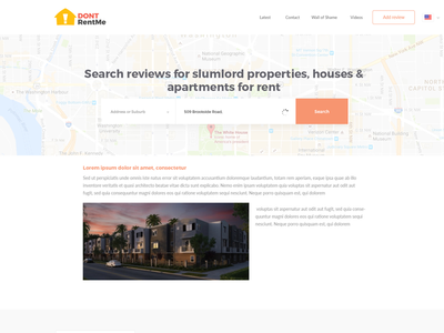 Dontrentme Search Page marionserenio dontrentme ux ui minimalist map homepage flat design clean