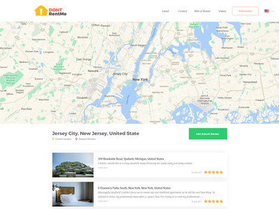 Dontrentme Suburb Page marionserenio dontrentme ux ui minimalist map homepage flat design clean