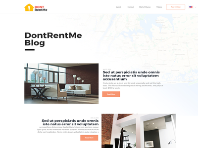 Dontrentme Blog marionserenio dontrentme ux ui minimalist map homepage flat design clean