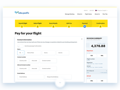 Airport website Payment home website redesign airport travel beach cebu pacific