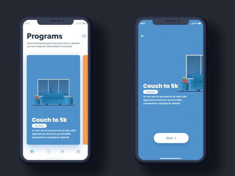 Running App First screens blue couch running cycle uiux running app