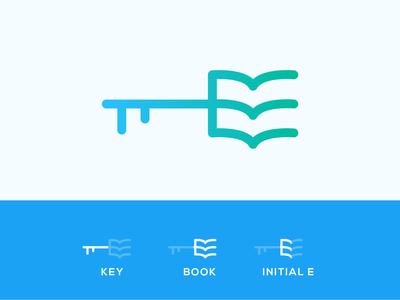 Alphabet E + Book + Key hand camera illustration diamond architecture right idenity design excellent wordmark logo