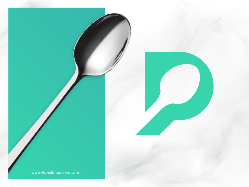 P + Spoon Logo poster photoshop fork spoon p camera architecture branding illustration diamond right idenity design excellent wordmark logo