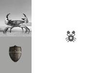 Crab + Shield   Animal Logo