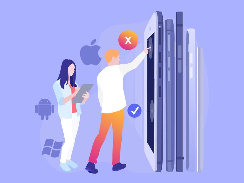 Mobile App testing phone work search man woman apple android orange gradient testing qa