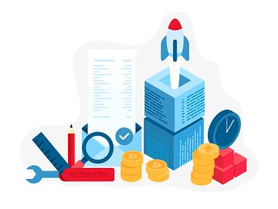 Rocket company illustration watch records bitcoin rocket