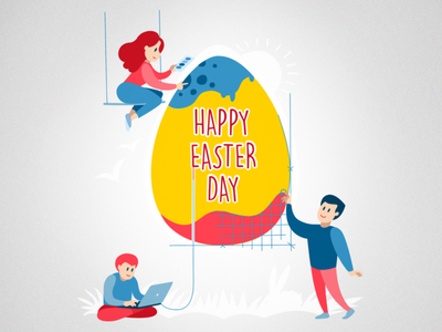 Happy Easter for Devs painters egg people illustration art holiday