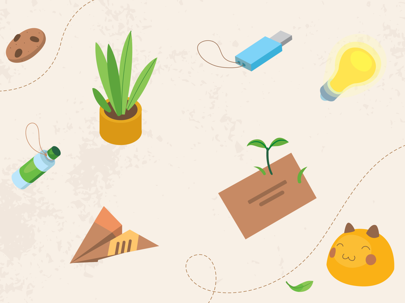 How to Decrease Environmental Footprint paperplane bottle letter plant texture cat illustration lamp