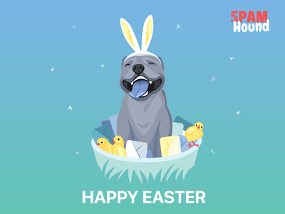 Happy Easter! Your SpamHound. bunny addblocker chick mobile dog easter block spam app