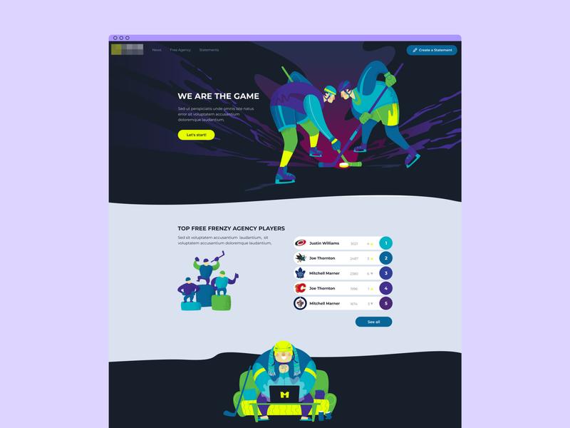 Web design for hockey fans sports branding sports design colors web gradient design illustration sport ux ui dekstop hockey