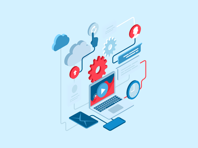 Illustration on Business Systems Automation vector tech it illustration automation system code