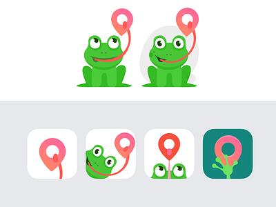 TripFrog App. Product Icon travel design logo branding location tracking location product ui mobile ui icon green mobile frog mobileappdesign mobileapp