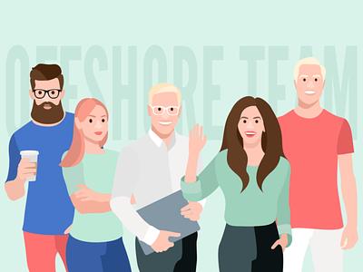 Offshore Team Illustration office life illustration team coffee work developer designer man people woman