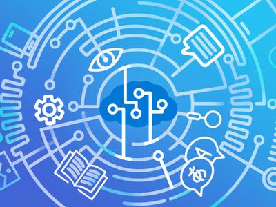 Microsoft Azure Cognitive Services scheme blue system gradient illustration settings cloud data