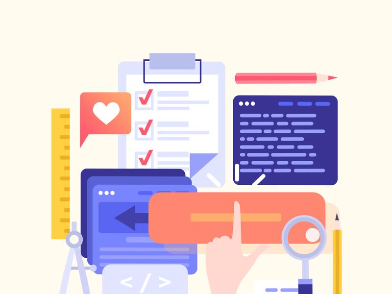 Illustration for a website: Checklist illustration pencil checklist orange folder office heart creature flat browser