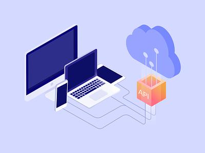 Illustrations for the website desktop gradient api cloud laptop
