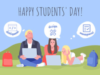 Happy Students Day Illustration