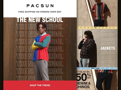 "PACSUN Mens ""New School"" Email outlined type typography fashion layout email"