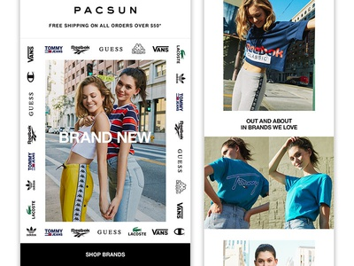"PACSUN Women's ""New Brands"" Email typography layout fashion email"