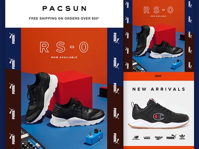 PacSun RS-0 Puma + Sneakers Email logo layout layout shoes sneakers email