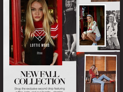 Lottie Moss Email for PacSun typography serif photo filter layout collage lottie moss fashion email design email