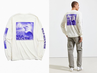 """Wild Behavior"" Tee for KNGDM cream purple image composite urban outfitters alaska wolf eagle t-shirt graphic tee apparel duotone design typography fashion layout"