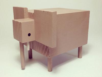 Big 5 - Elephant (2014) wood acrylic sculpture elephant big 5