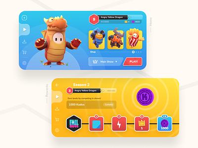 Fall guys mobile version 🎮 design cute colorful character ui game app mobile fallguys
