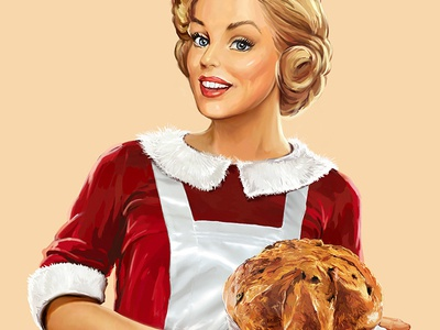 Panettone.  food illustration package paint pin-up 2d art poster photoshop pin up print oldschool gerl vintage character branding wacom illustrator vector design graphic illustration