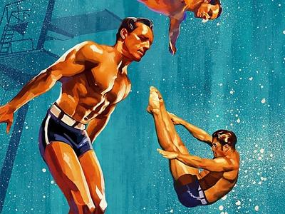 Illustration for vintage travel poster. Mallorca diver vintage travel posters illustrator art