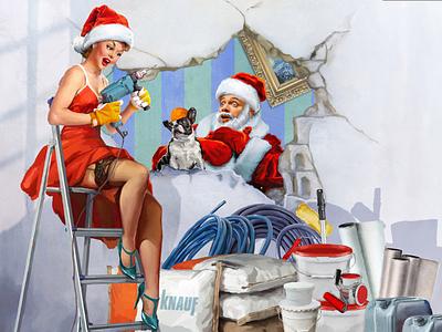 Christmas Pin-up illustration retro vintage girl painting paint oldscool illustration christmas pin-up