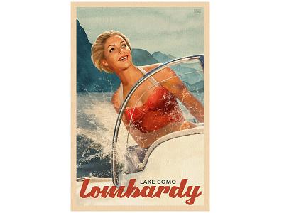 lake Como . travel poster girl print character wacom illustration oldschool poster design retro vintage